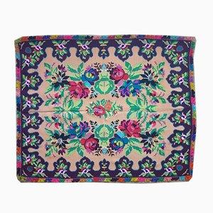Vintage Beige Floral Handwoven Carpet, 1970s