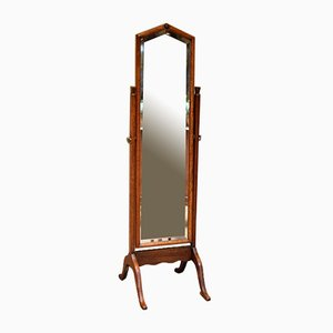Antique Oak Cheval Mirror