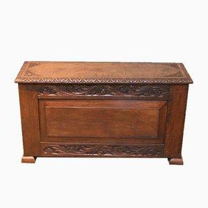 Antique Solid Oak Carved Coffer