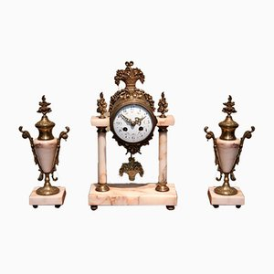 Antique French Marble And Brass Clock Garniture Set