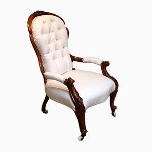 Victorian Button-Back Walnut Armchair
