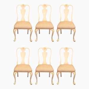 Painted Beech Chairs, 1920s, Set of 6