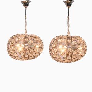 Lámparas de araña de cristal y latón plateadas en cromo de Gaetano Sciolari para Sciolari. Juego de 2