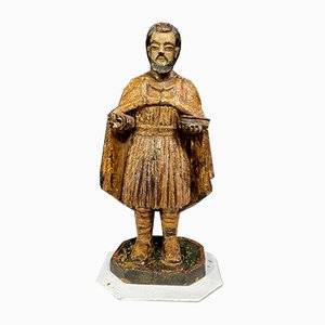 Statue In Carved Wood & Polychrome Lacquer