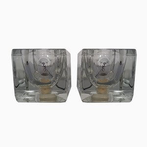 Glass Cube Lamps from Peill and Putzler, 1970s, Set of 2