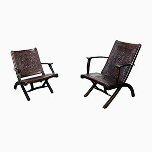 Mid-Century Ecuadorian Leather Folding Chairs by Angel I. Pazmino for Muebles de Estilo, Set of 2