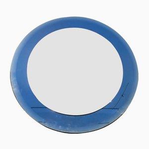 Mid-Century Blue Circular Mirror from Fontana Arte