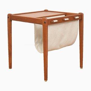 Tavolino Mid-Century in teak con portariviste di Brdr Furbo, Danimarca, anni '60