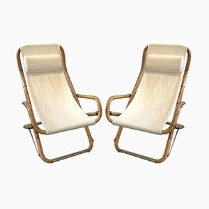 Mid-Century Italian Bamboo Rocking Lounge Chairs, Set of 2