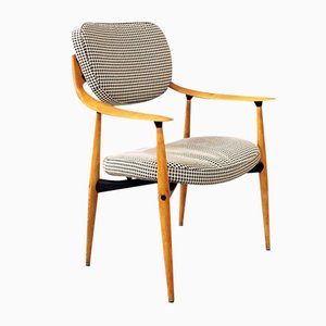 Swedish Curved Wood Desk Chair with Pied de Poul Fabric from Hagafors, 1960s