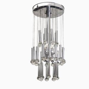 Lámpara colgante de acero y vidrio de Gaetano Sciolari, años 60