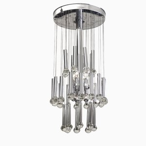 Stahl & Glas Pendelleuchte von Gaetano Sciolari, 1960er