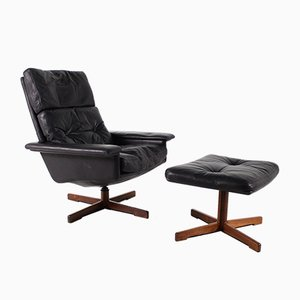 Norwegian Black Leather Swivel Chair & Ottoman, 1960s, Set of 2
