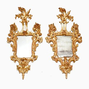 Antique French Gilt Wood Mirrors, Set of 2