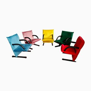 T-Line Lounge Chairs by Burkhard Vogtherr for Arflex, 1980s, Set of 5