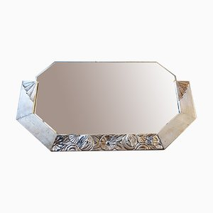 Art Nouveau Mirror with Carved Wood Frame