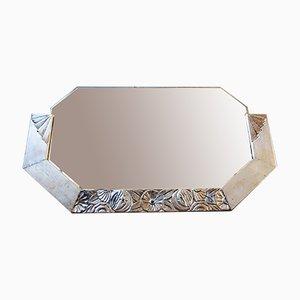 Specchio Art Nouveau con cornice in legno intagliato