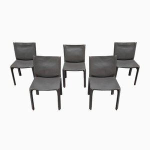 Model Cab Grey Leather Dining Chairs by Mario Bellini for Cassina, 1970s, Set of 5