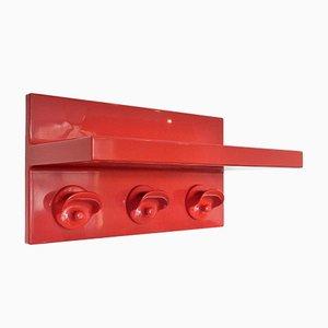 Portemanteau Vintage en Plastique Rouge avec Étagère à Chapeaux par Olaf von Bohr pour Kartell