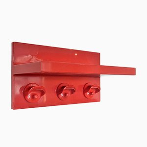 Vintage Red Plastic Coat Rack with Hat Shelf by Olaf von Bohr for Kartell