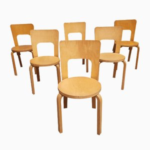 Model 66 Curved Plywood Veneer Dining Chairs by Alvar Aalto for Artek, 1970s, Set of 6