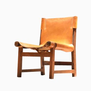 Midcentury Children's Leather & Wood Chair