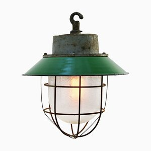 Vintage Industrial Green Enamel Cast Iron Frosted Glass Pendant Light