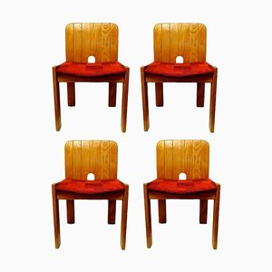 Solid Wood Side Chairs from Gavina, 1970s, Set of 4