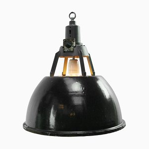 Lampe à Suspension Industrielle Vintage en Émail Noir
