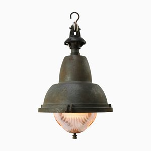 Vintage Industrial French Grey Iron Round Holophane Glass Pendant Light