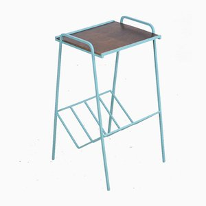 Restored Turquoise Side Table with Wooden Top, 1970s