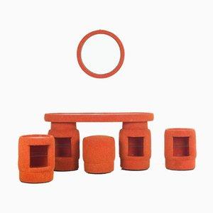 Orange Dressing Table, Set of 5