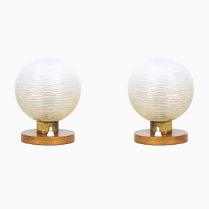 Small Table Lamps with Wooden Parts, Set of 2