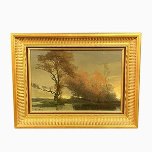 Antique Painting by Georges Gregoire Lavaux, Lakeside Landscape At Dusk
