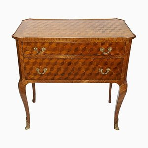 Biedermeier Maquetry Commode with 2 Drawers, 1860s
