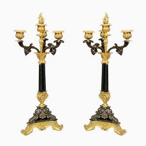 Empire Gilt Bronze & Patinated Candleholders, Set of 2