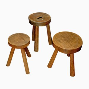 Mid-Century Wooden Stools by Charlotte Perriand, Set of 3