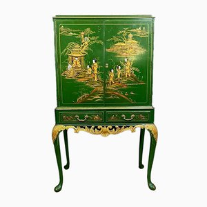 Green & Gold Lacquered Chest of Drawers, 1920s