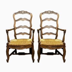 Louis XV Wood & Straw Armchairs, 1930s, Set of 2