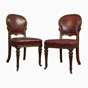 Walnut & Leather Side Chairs, Set of 2