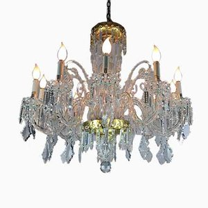 Antique Bohemia Crystal 12-Arm Chandelier, 1950s