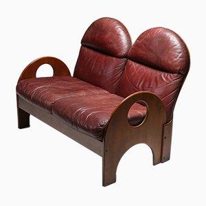 Arcata Walnut & Burgundy Leather Loveseat by Gae Aulenti for Poltronova, 1968