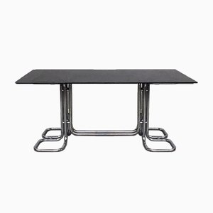 Mid-Century Italian Modern Rectangular Table With Smoked Top and Tubular Structure, 1970s