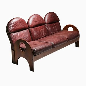 Arcata Walnut & Burgundy Leather Sofa by Gae Aulenti for Poltronova, 1968