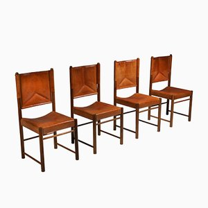 Cognac Leather Dining Chairs, 1960s, Set of 4