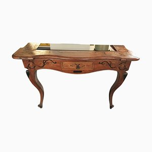 Antique Wooden Console with Smoked Glass