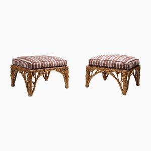 Bamboo Ottomans from Arpex, 1970s, Set of 2