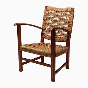 Beech & Cord Armchair by Adrien Audoux & Frida Minet, 1960s