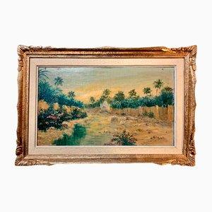 Peinture d'École Orientaliste par MP Auzale, Paysage de l'Est de l'Afrique du Nord, 1930s