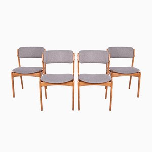 Model 49 Oak Dining Chairs by Erik Buch for Odense Maskinsnedkeri / OD Furniture, 1960s, Set of 4